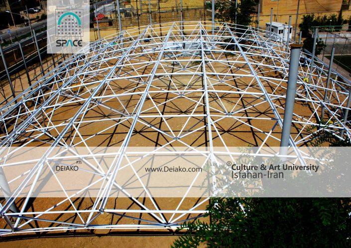 مونتاژ سازه فضایی قوسی ورزشگاه دانشگاه فرهنگ و هنر اصفهان