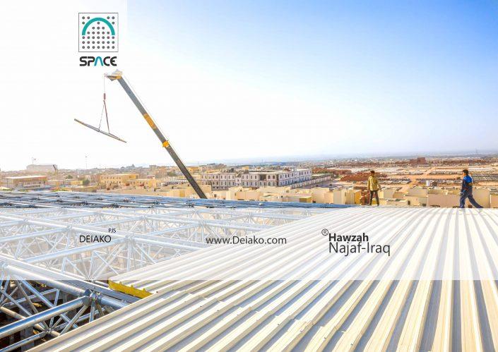 نصب ساندویچ پانل سقفی 20 سانتی سازه فضایی قوسی نجف عراق