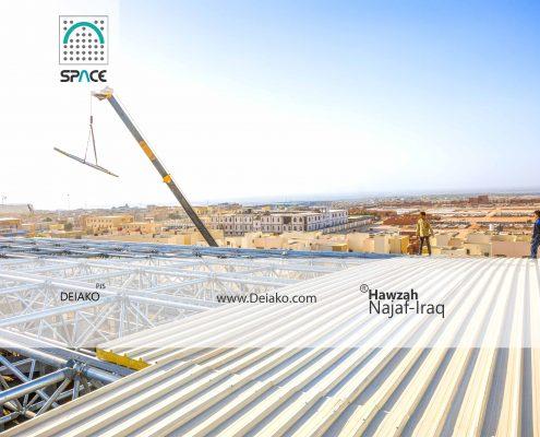 پوشش ساندویچ پانل سقف سازه فضایی قوسی نجف
