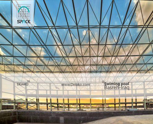 سقف سازه فضایی استخر قهرمانی شهر بندری بصره عراق