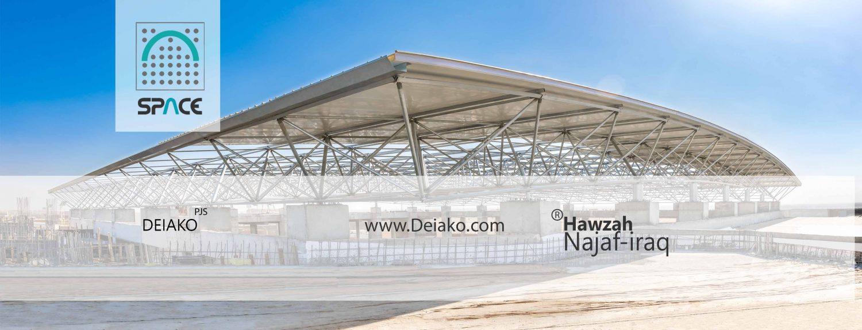 نصب زیرسازه سازه فضایی برای ساندویچ پانل سقفی در شهر نجف عراق